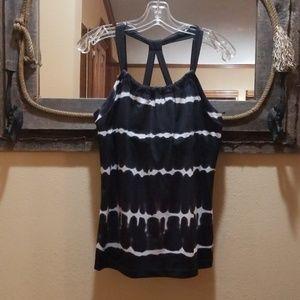 Black & white tie dye workout tank